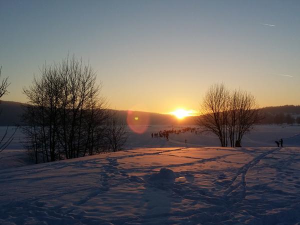 Zimní západ slunce na Lipně